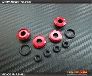 Hawk Creation 550~700 Matel Canopy Rubber Grommet Mount Set (Red)